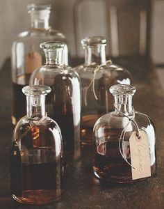 DETAILS The chemist shop look of these Apothecary Decanters adds visual potency to whatever potable they contain. Finished pieces are truly handmade, small craft production, lending uniqueness to each