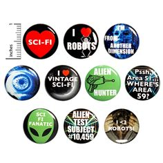 Sci Fi Buttons Cool Pins for Backpacks Science Fiction Robots Aliens 10 Pack Gift Set 1 Inch - Packed Gifts Funny Buttons, Cool Buttons, Work Jokes, Work Humor, Bee Gifts, Work Gifts, Cool Pins, Science Fiction, Sci Fi