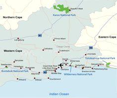 Kaarten Kaart regio route Garden Route tuinroute Zuid-Afrika