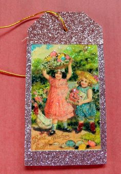 Vintage girl with poodle happy birthday gift tag gift tag vintage easter girls easter gift tag glitter wood tag easter wishes vintage negle Images