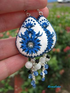 blue and white polymer clay earrings by HemalataHandcrafted