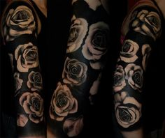 What does negative space tattoo mean? We have negative space tattoo ideas, designs, symbolism and we explain the meaning behind the tattoo. Black Ink Tattoos, Rose Tattoos, Black And Grey Tattoos, Flower Tattoos, Tattoo Roses, Tattoo Black, Tattoo Ink, Tattoo Care, Blackout Tattoo