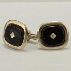 Vintage Cufflinks Black w Rhinestones