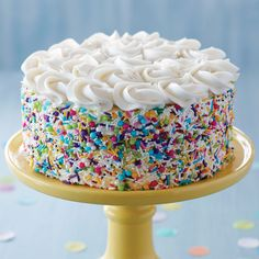 Every birthday deserves a great cake! With this Sprinkle on the Fun Birthday Cake, you can create a birthday treat that is party ready in no time. Use a collection of sprinkles to decorate the sides…More Cool Birthday Cakes, Birthday Treats, Birthday Desserts, Birthday Cake Designs, Colorful Birthday Cake, Birthday Cake Cupcakes, Flower Birthday Cakes, Birthday Cake For Men Easy, Purple Birthday