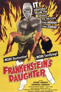 frankenstein's daughter 1958 Classic Monster Movies, Classic Horror Movies, Classic Monsters, Harold Lloyd, Horror Movie Posters, Cult Movies, Sci Fi Movies, Creepy Movies, Science Fiction