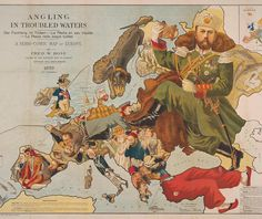"""Angling in Troubled Waters by Frederick Rose in 1899. """"The political turmoil of Europe as the twentieth century approaches is shown in this classic caricature map. Each country is portrayed as a fisherman with their lines an allegory for their interference elsewhere with the more successful with their catch in bags."""" A detailed """"Reference"""" key on the map provides humorous commentary on the situation of each country. Some details might resonate today: John Bull having caught the crocodile of…"""