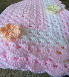 "[ ""Crochet Baby Blanket in Pink with White Flowery Trim"", ""This pram or cot sized blanket is made with soft pale pink DK yarn in a traditional gra Crochet Afghans, Baby Afghans, Crochet Stitches, Knit Crochet, Hand Crochet, Crochet Toys, Pink Baby Blanket, Baby Blanket Crochet, Baby Blanket Patterns"