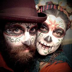 day of the dead makeup with beard halloween