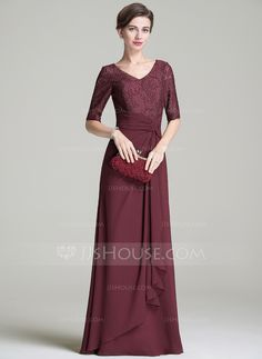 A-Line/Princess V-neck Floor-Length Ruffle Cascading Ruffles Zipper Up Sleeves 1/2 Sleeves No 2016 Other Colors Spring Summer Fall General Plus Chiffon Lace Mother of the Bride Dress