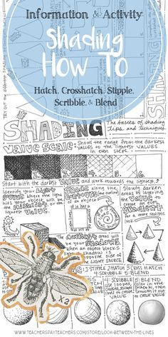 This handout as a great refresher or introduction to shading techniques. It covers hatching, crosshatching, stippling, scribbling, and blending. The front is full of examples and information and the back has activities for the students to complete. #arteducation #shading #drawing #minilesson
