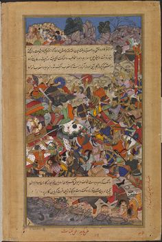 The Heroic Death of Queen Rani Durgavati of Mahoba (Gond Kingdom) (Akbarnama (1564 CE (?) Mughal Miniature) -Kesav & Jagannath)  (V&A)   Ruling As regent for her son Bir Narayan, Her army consisted of 20,000 cavalry and 1000 elephants, and had repelled other attacks on the kingdom, but her forces were defeated by the Mughal Army