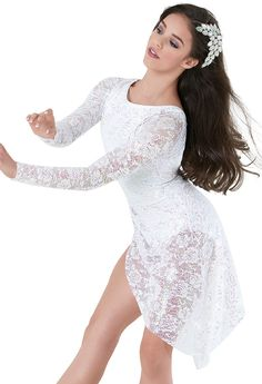 Weissman™ | Long-Sleeve Crystal Sequin Lace Dress