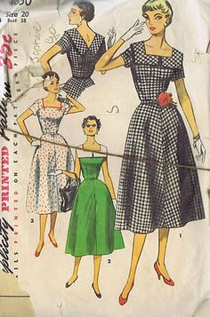 Simplicity Pattern  Pattern Number 4650  Copyright: 1954    Vintage 50's One Piece Dress Pattern    Dress pattern features a fitted bodice with a square front neckline to a V in back.  Gored skirt is moderately flared.  Self or purchased belt is worn.  View 1 has a wide shaped collar with contrasting bias binding trim and short sleeves.  View 2 is sleeveless with a contrasting collar.  View 3 has short sleeves and contrasting bias and bow trim detail neckline.