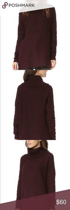 """Cupcakes and cashmere """"Dexter"""" sweater A richly textured cowl-neck sweater with a slouchy drape. Ribbed cuffs finish the long sleeves, and side slits detail the hem. It can fit small, most mediums, and some larges. The color is maroon as the close up picture shows since the others make it look black. Only worn a couple of times and in great condition !! BB Dakota Sweaters Cowl & Turtlenecks"""