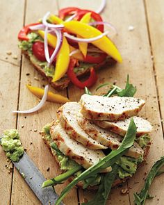 "Grilled Turkey (or Chicken) with Mango, Bell Pepper, and Avocado Sandwich ................I find I can ""juicy up"" those dry holiday leftovers birds by taking some olive oil in a bowl, adding some of your favorite spices, I like dried basil, coarse ground black pepper, parsley, and whatever green stuff I got up in the cabinet), add boneless turkey or roast chicken pieces, toss in bowl, throw into frying pan, sizzle for a few minutes, then add to sandwich."