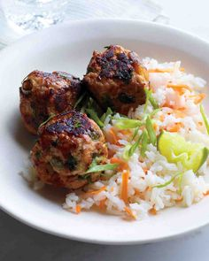 Turkey Recipes: Asian Turkey Meatballs with Carrot Rice
