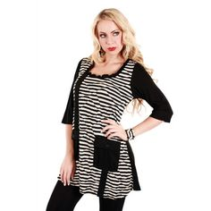 Women's Black and White Striped Long Tunic