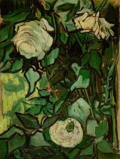 Art of the Day: Van Gogh, Roses and Beetle, April-May 1890. Oil on canvas, 33.5 x 24.5 cm. Van Gogh Museum, Amsterdam.