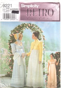 Simplicity 9221 Misses Costume Pattern Regency Era Tea Gown and Jacket womens sewing pattern by mbchills