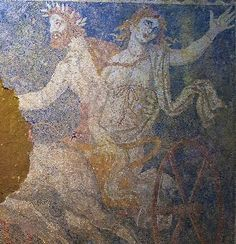 Amphipolis mosaic portrays Abduction of Persephone. The mosaic on the floor of the Greek tomb shows Persephone, daughter of Zeus and Demeter, as she is abducted by Pluto [Credit: Greece Ministry of Culture] Greek History, Roman History, Art History, Ancient Tomb, Ancient Art, Macedonia Greece, Athens Greece, Roman Gods, Archaeological Discoveries