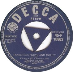 "Decca 45-F 10802 Peggy Cochrane Souvenir from ""Guys And Dolls"""