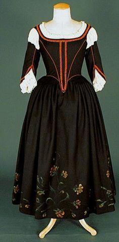 Black day Dress (front) under Louis XIII era, 1610-1660