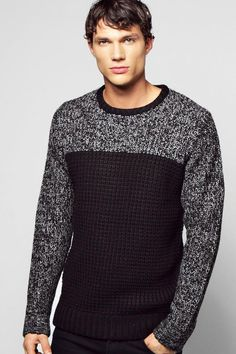 c983087a8ae5e1 boohoo Colour Blocked Mixed Yarn Jumper Men's Sweaters, Waffle Knit, Rib  Knit, Jumper
