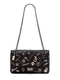 Chanel….Black Quilted Lucky Charms 2.55 Reissue 225 Double Flap Bag