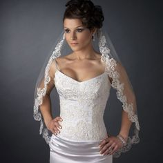 Scalloped Beaded Floral Lace Embroidery Fingertip Wedding Veil--Affordable Elegance Bridal -