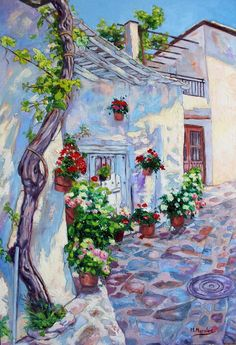 Rincón de Bubión, Alpujarra de Granada. Óleo sobre tabla entelada, de 55 x 46 cm. Manuel Morales Puertas