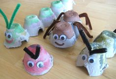 Preschool Crafts for Kids*: Earth Day Egg Carton Bugs Craft Recycled Crafts Kids, Recycled Art Projects, Projects For Kids, Craft Projects, Craft Ideas, Insect Crafts, Bug Crafts, Crafts To Make, Crafts For Kids
