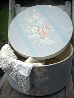 Vintage wallpaper hat box baby blue 1940's by LittleBeachDesigns, $29.00