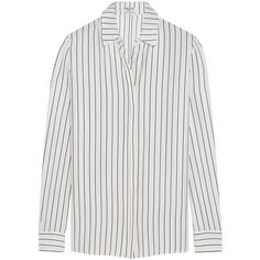 Frame Denim Le Classic striped washed silk-charmeuse shirt ($295) ❤ liked on Polyvore featuring tops, shirts, frame denim, white, striped top, white stripes shirt, stripe shirt and white striped shirt