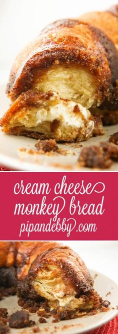Cream Cheese Monkey Bread | Cream cheese is secretly tucked into the center of this delicious breakfast bread!