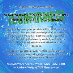 MYTH #39 - SOME SOLAR COMPANIES OUTSOURCE THEIR INSTALLERS - CONFIRMED! Some do…