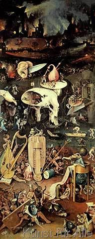 Hieronymus Bosch - The Garden of Earthly Delights: Hell, right wing of triptych, c.1500