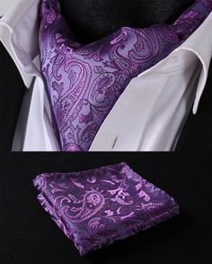 RF310P Purple Paisley Silk Cravat Woven Ascot Hanky Handkerchief Set #SetSense #Ascot