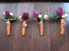 Purple and Orange Wedding Boutineers by veganbackpacker, via Flickr.  love it all except for the orange ribbon