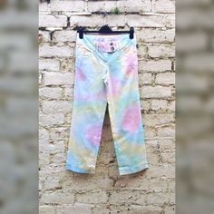 Womens Hippie Pants Rainbow Tie Dye 100% Cotton Trousers to fit UK size 6 or US size 4