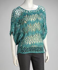Turquoise Crocheted Cape-Sleeve Sweater