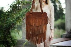 Fringe Brown  Leather Bag // Made to order // by SABRINATACH, $155.00