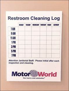 restroom cleaning log