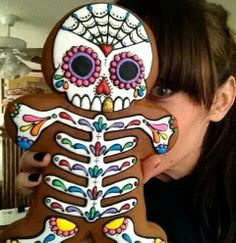 mexican day of the dead inspired cookie - looks amazing but I bet this would take forever to decorate.