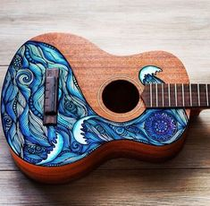 Don't Be Afraid To Learn To Play Guitar! Maybe you aren't sure how to play guitar. You can play guitar as long as you're willing to practice and use these tips. Guitar Painting, Guitar Art, Cool Guitar, Guitar Songs, Arte Do Ukulele, Painted Ukulele, Painted Guitars, Ukulele Design, Semi Acoustic Guitar