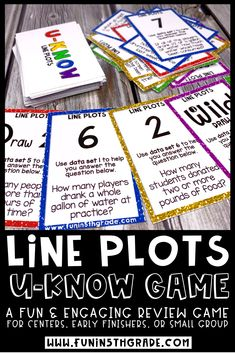 Line plots U-Know game is a fun and engaging way to review math skills!  This fun activity is great for math centers/stations, early finishers, and math small group.  5th grade students will enjoy reviewing data collection and analysis & line plots with this game!  Cards in the game include finding the total for all data, how to determine how many people for a certain data point and finding more or less of a given amount.  #lineplots