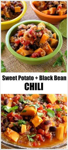 Sweet Potato Black Bean Chili with Quinoa - this is an easy, one pot meal that satisfies the heartiest of appetites! Vegan and gluten-free recipe by @DinnerMom