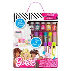 Create 5 custom lip balms with the Barbie Layered Lip Balm kit! Mix multiple fruity flavors to create crazy layered lip balms and name each with a creative spin like Berries & Barbie or Tropical Teresa! Little Girl Toys, Toys For Girls, Princess Toys, Kids Makeup, Makeup Kit For Kids, Lip Balm Tubes, Barbie Accessories, Lol Dolls, Kits For Kids
