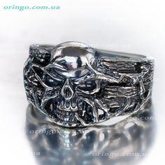 men rock punk biker gothic SKULL ring Sterling silver 925 gothic sterling ring skull men ring