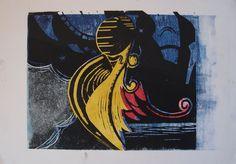 Houtsnede, meisje dat opreist uit de poel des verderfs. Gemaakt door Marleen van de Kraats.
