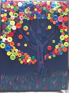 My rendition of the button tree.  Canvas painted in acrylic, tree and grass in oil pastels.  Buttons glued on with wood glue (I didn't have any craft glue). ~ Carrera